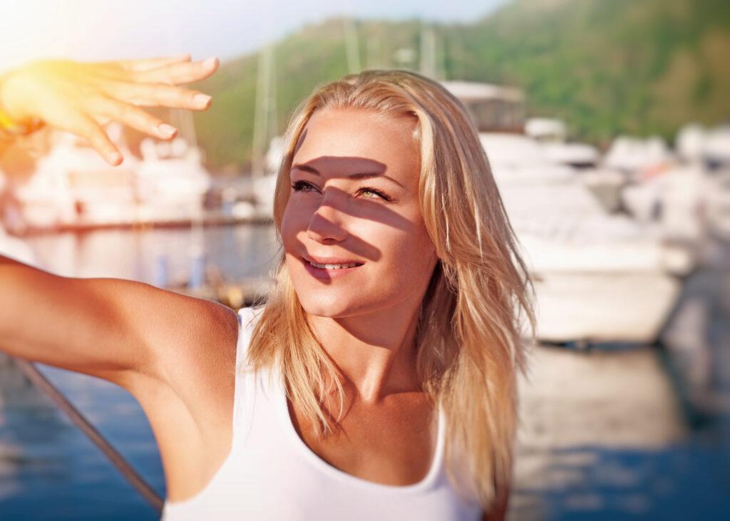femme exposition soleil